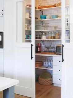 Pantry with sliding barn doors New Farm, Bathroom Medicine Cabinet, Pantry, Bookcase, Shabby Chic, New Homes, Cottage, Shelves, Kitchen