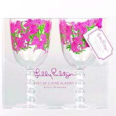 Lilly Pulitzer Wine Goblets.   Available at Jules Etc. Boutique. Friend us on Facebook to see more Lilly and purchase!   Facebook: Etcboutique Asheboro.