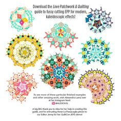 DOWNLOAD STEP-BY-STEP GUIDE TO FUSSY CUTTING EPP La Passacaglia Quilt Rosettes made by Alexandra Luenz using Cotton+Steel fabric. Pattern from Millefiori Quilts by Willyne Hammerstein