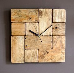 Wooden wall clock made of reclaimed pallet wood. This clock is designed by my 10 year old daughter. Made from little blocks of pallet wood with grain oriented in different directions. Face is protected by beeswax finish which gives that rustic look. Buying this clock you are buying
