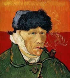 """Self-Portrait with Bandaged Ear and Pipe, 1889. He has become the image of a """"tortured artist."""" His fame is due to his painting, of course, but it is his life that took him beyond a famous painter and made him a legend. Outside of his paintings, when people think of van Gogh they think of his ear - or lack thereof."""