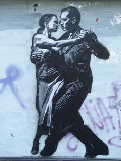 "Stencil Street Art ""Tango"" by Jef Aerosol (Buenos Aires, Argentina)"