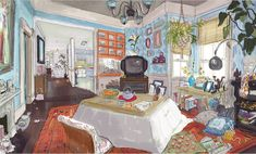 Concept art for the 2nd level of Hiro's House (Aunt Cass' level) and the Cafe - Scott Watanabe