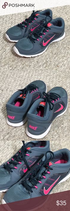 Nike Training Shoe Excellent Condition, gently used but still clean! Nike Training. True to size 7.5. Gray with pink swoosh.❌Trades ❌ modeling ❤️Bundle and save! Nike Shoes Sneakers