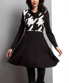 Look what I found on #zulily! Black Houndstooth Shawl Collar Dress #zulilyfinds