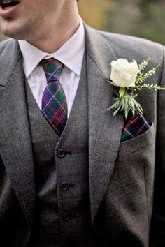Plaid on the groom! #wedding #plaid #groom