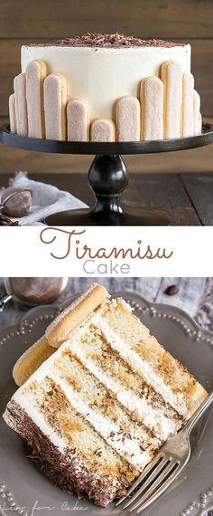 Tiramisu cake - This Tiramisu Cake turns your favourite Italian dessert into a delicious and decadent layer cake Coffee soaked layers paired with mascarpone buttercream livforcake com Cupcake Recipes, Baking Recipes, Cupcake Cakes, Dessert Recipes, Baking Desserts, Pie Recipes, Cookie Cakes, Layer Cake Recipes, Baking Cookies