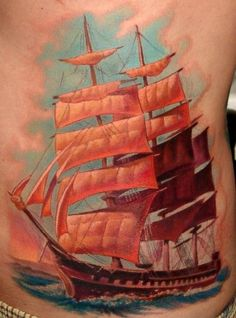 Boris Tattoo clipper ship. Awesome use of colors for a sunset feel.