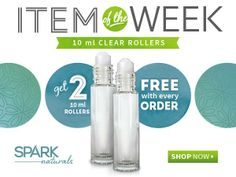Spark Naturals has a new Item of the Week!  Get two 10 ml rollerball bottles free with every order.  Great for creating your own blends and easy application.  Free shipping on orders $99 and over.  Use Coupon Code VALERIE to save 10% on your order. http://idevaffiliate.sparknaturals.com/idevaffiliate.php?id=255
