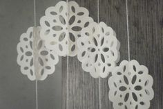 hanging white doilies - Google Search