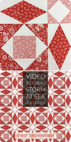 Storm at sea quilt block - video tutorial And free paper piecing template