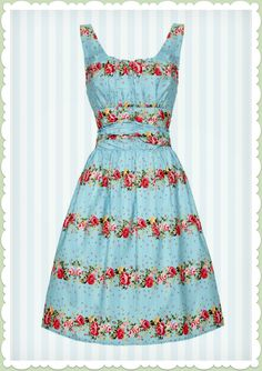 Voodoo Vixen 50er Jahre Vintage Blumen Kleid - Spring Flower - blau