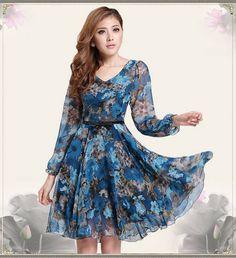 Elegant Retro Womens Slim V-neck Blue Floral Long Sleeve OL Chiffon Dress #Unbranded #TeaDress #Casual