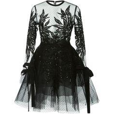 Elie Saab Tulle And Macramé Mini Dress ($5,775) ❤ liked on Polyvore featuring dresses, elie saab, black, short mini dress, tulle mini dress, tulle cocktail dresses, sequined dresses and floral embroidered dress