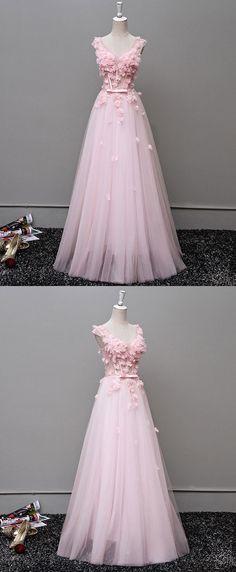 Custom made v neck tulle long prom dress, evening dress