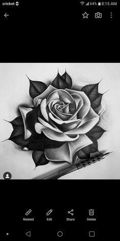 Rose Neck Tattoo, Rose Drawing Tattoo, Realistic Rose Tattoo, 3d Art Drawing, Dark Art Tattoo, Rose Tattoos, Flower Tattoos, Tattoo Drawings, Sketch Tattoo Design