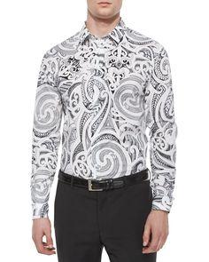 Baroque-Print Long-Sleeve Shirt, White/Black, Men's, Size: 44 - Versace Collection
