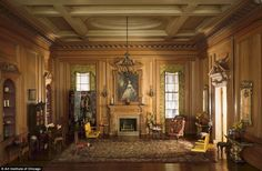 Hobby: Thorne started out collecting miniature furniture as she journeyed around the world. Pictured,English Drawing Room of the Early Georgian Period, c. 1730s - built in 1937