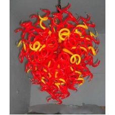 Multi colored art glass pendant lamp $750.00