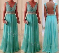 Custom Made Green Chiffon Long Lace Prom Dresses, Bridesmadi Dresses, Evening Dresses, Formal Dresses, Wedding Party Dresses