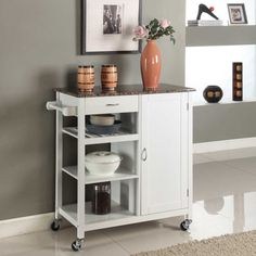 Wooden 3-shelf Kitchen Cart - Overstock™ Shopping - Great Deals on K and B Furniture Co Inc Kitchen Carts