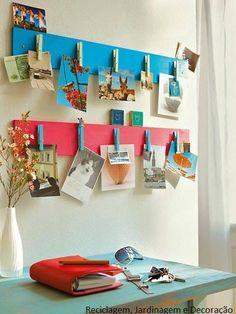 Madeira + pregadores + tinta = painel de fotos! #decoração #fotos #sustentabilidade