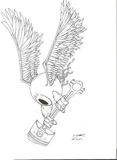 """""""Flying eyeball"""" www. Tattoo Sketches, Tattoo Drawings, Pencil Tattoo, Doodle Wall, Draw Logo, Patriotic Tattoos, Pinstripe Art, Rat Fink, Garage Art"""