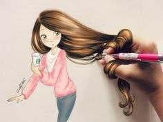 """Starbucks Girl"" - by DebbyArts #ilustracion"