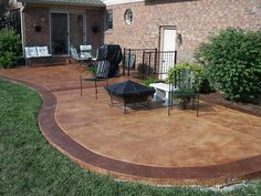 Backyard Cement Patio Ideas upgrade your patio without busting the budget concrete can be beautiful with a few Sandstone Colored Concrete Patio