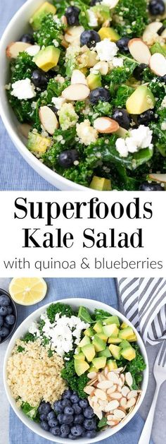 Kale Superfood Salad with Quinoa and Blueberries is loaded with super foods! This healthy salad is make ahead friendly for quick lunches or dinner. Goat cheese, avocado, and a honey lemon dressing bring lots of flavor to this gluten free power salad! Kale Superfood, Kale Quinoa Salad, Blueberry Quinoa Salad, Kale Salads, Kale Power Salad, Avocado Quinoa, Quinoa Salat, Protein Salad, Kale Salad Recipes