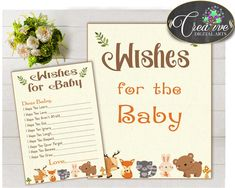 WISHES FOR BABY activity advice woodland baby shower with forest animals printable, bear deer rabbit fox, Jpg Pdf, instant download - w0001