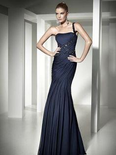 2012 Style Trumpet / Mermaid One Shoulder Beading  Sleeveless Floor-length Chiffon Dark Navy Prom Dress / Evening Dress (SZ0252979)