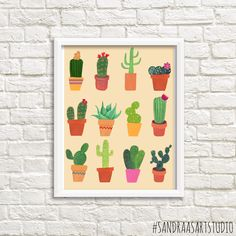 New to SandraArtStudio on Etsy: Cactus print digital print with cactusses cacti succulent botanical print art print wall decoration INSTANT DOWNLOAD (0020) (7.50 EUR)