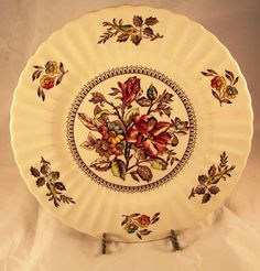 "Vintage 1950's Wade of England 10"" Dinner Plate - Hedgerow Pattern #WadeEnglishFineChina"