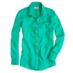 J.Crew Perfect Shirt in Chrome Green Linen