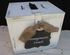 """Wedding Money Box with """"Honeymoon Fund"""" Slate Chalkboard Sign"""