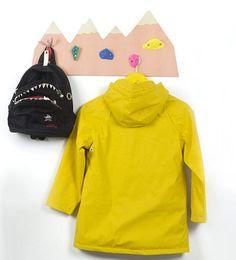 Climbing wall rocks as hangers. Little Nice Things, Climbing Wall, Coat Hanger, Nike Jacket, Kids Room, Branding Design, Sweatshirts, Jackets, Catalog