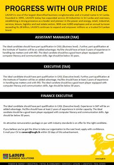 LAUGFS Holdings Limited are seeking candidates for Assistant Manager / Executive (TAX) positions. Accounting Jobs, Assistant Manager, Career, Management, Business, Carrera, Store, Business Illustration