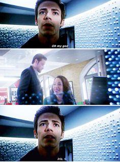 """Oh my god, Iris"" - Barry The Flash Season 1, Flash Tv Series, Fastest Man, Dc Legends Of Tomorrow, Supergirl And Flash, Flash Arrow, Grant Gustin, Series Movies, Man Alive"