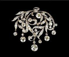Foliate diamond brooch, possibly Russian, c. 1880.
