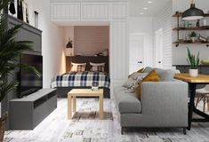 Studio Apartment Decorating, Apartment Design, Style At Home, Condo Interior, Interior Design, Small Apartments, Small Spaces, Open Plan Living, Dream Rooms