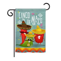 Breeze Decor - Chili Pepper Cinco de Mayo Country & Primitive - Everyday Southwest Impressions Decorative Vertical Garden Flag x Printed In USA Evergreen Flags, National Holidays, House Flags, American Traditional, Flag Design, Country Primitive, Garden Flags, Home Decor Items, Country Decor