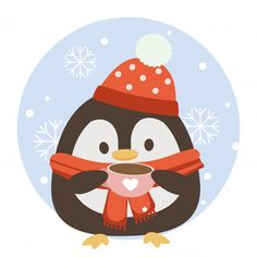 The Character Of Cute Penguin Holding A Pink Coffee Cup With Circle Blue Background And Snowflake. Winter Illustration, Christmas Illustration, Handmade Christmas, Christmas Diy, Christmas Cards, Pink Coffee Cups, Christmas Cartoons, Belly Painting, Cute Penguins