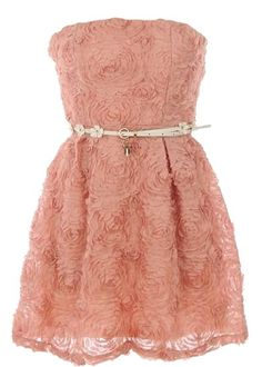 Swirled Cupcake Dress: Features a gorgeous strapless design with lightly padded bust for comfortable support, dimensional flowers constructed from scalloped crepe covering both sides of the dress, skinny white belt complete with silver lock and key trinkets, and a gathered A-line skirt to finish.