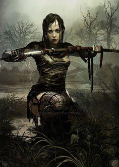 Railla Karnokailen 2 by Morano.deviantart.com. Warrior drawing sword in the dismal dark swamp