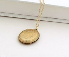 Gold Locket Necklace Art Deco Locket by laurenblythedesigns, $48.00