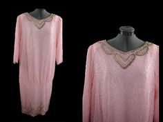 Vintage 80s Pink Silk Glass Beaded Evening by littlebitvintage2, $125.00