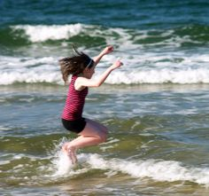 The girl was really enjoying the day at the beach ! Lord, Hands, Running, Beach, The Beach, Keep Running, Why I Run, Beaches