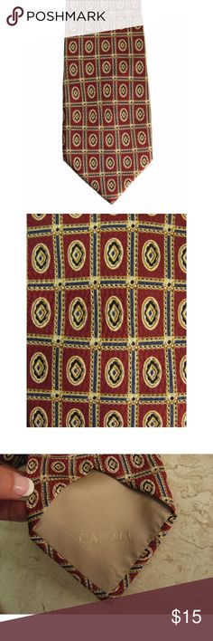 """Canali Mens Necktie Rust Brown Navy Blue Silk Be a sharp dressed man in this handsome Canali Milano classic medallion print necktie. It's got a rust brown background with beige, navy blue, gold and black geometric print. 100% silk. Made in Italy!  56 1/2"""" long, 4"""" wide  170427-321-04-2 Canali Accessories"""