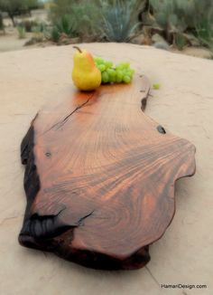 Natural Mesquite Wood Cutting Board or Serving Platter, live edge log slab Wood Cutting Board